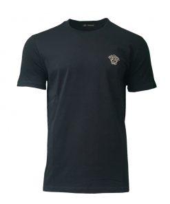 Versace Gold Medusa Logo Short Sleeve Mens Crew T-shirt in Black