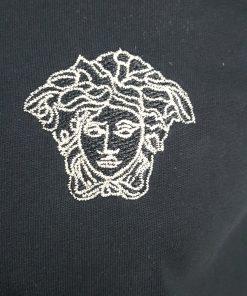 Versace Gold Medusa Logo Short Sleeve Mens Crew T-shirt in Black close-up