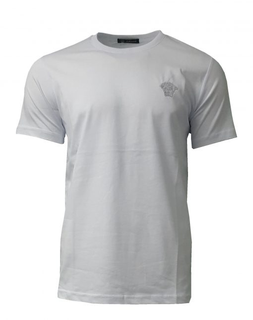 Versace Silver Medusa Logo Short Sleeve Mens Crew T-shirt in White