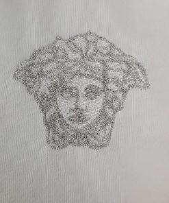 Versace Silver Medusa Logo Short Sleeve Mens Crew T-shirt in White Close up
