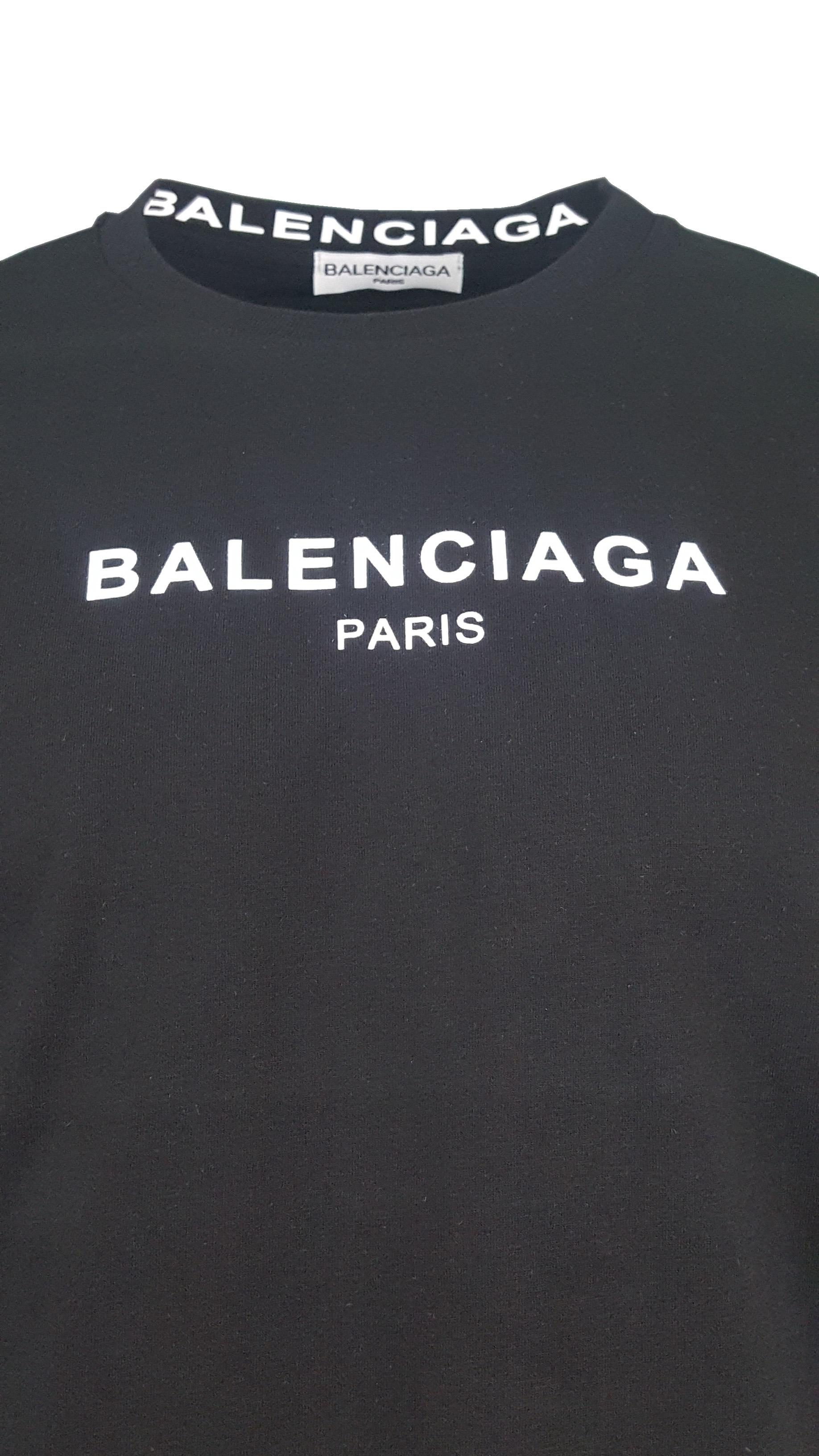 14fc5220 Balenciaga Short Sleeve Crew T Shirt. Paris Chest Print in Black ...