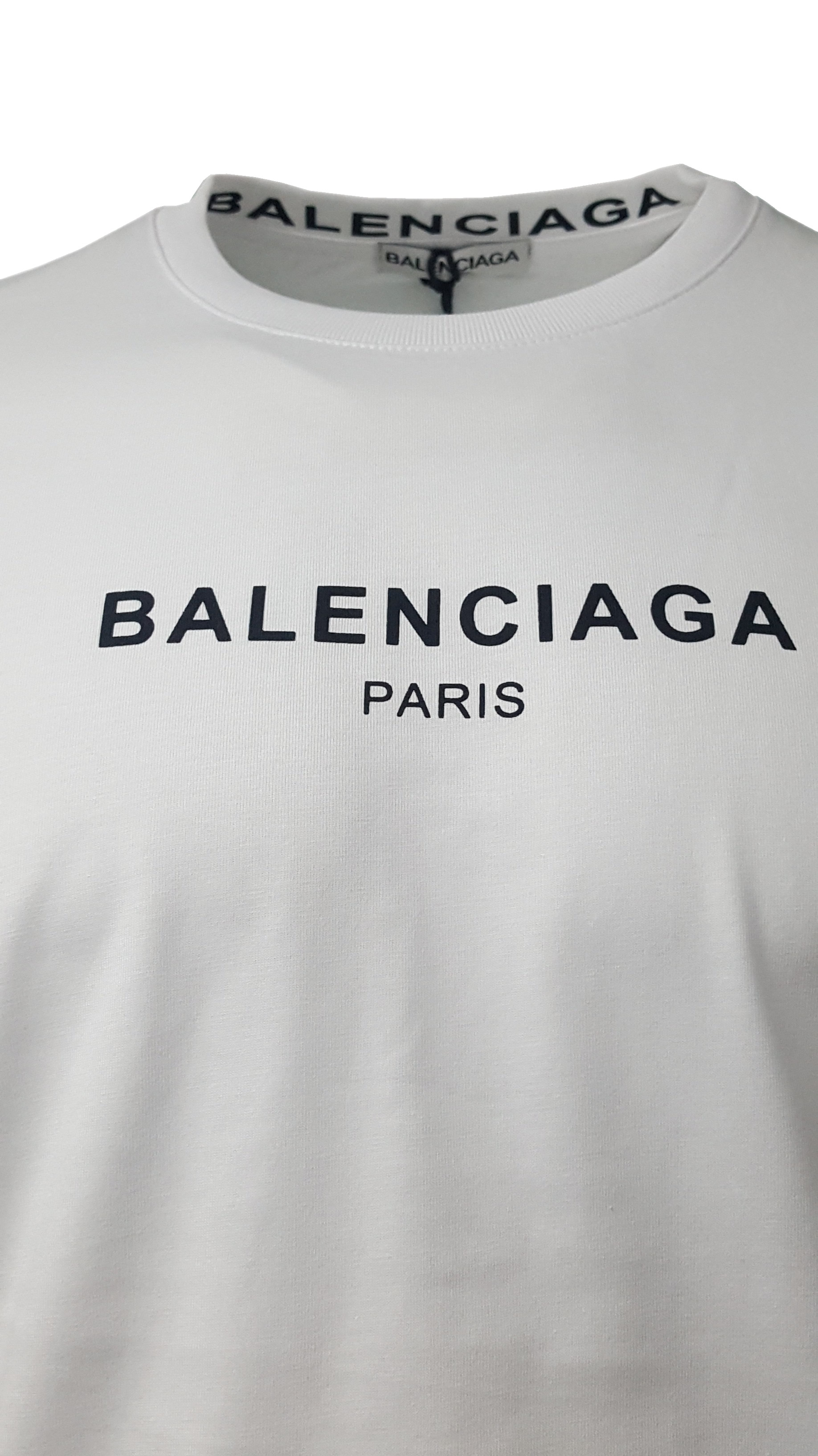 d670747e Balenciaga Short Sleeve Crew T Shirt. Paris Chest Print in White ...