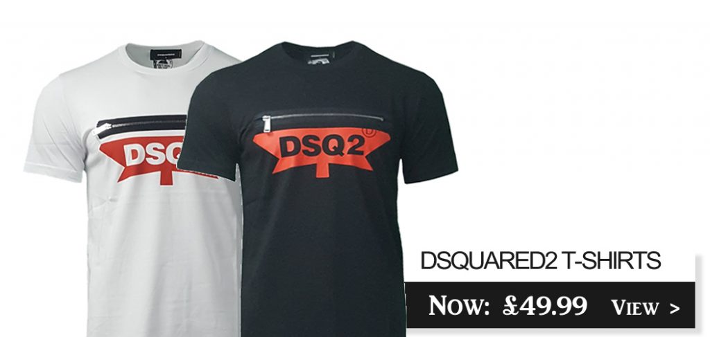 D2 DSquared 2 Maple Leaf Zipped Short Sleeve Crew T-shirts On Sale