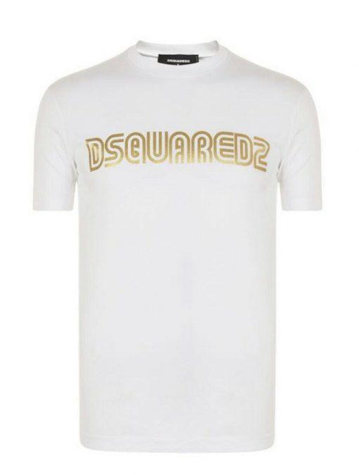 DSQUARED T SHIRT MENS GOLD PRINT WHITE
