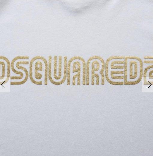 DSQUARED T SHIRT MENS GOLD PRINT WHITE CHEST