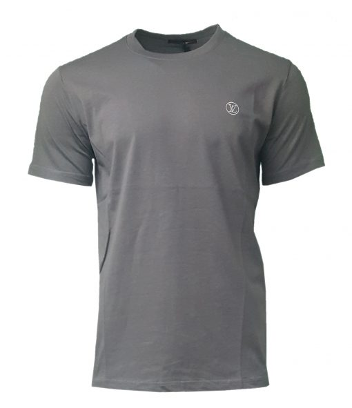 Louis Vuitton Short Sleeve Crew T Shirt with Embroidered Logo in Grey