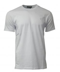 Louis Vuitton Short Sleeve Crew T Shirt with Embroidered Logo in White