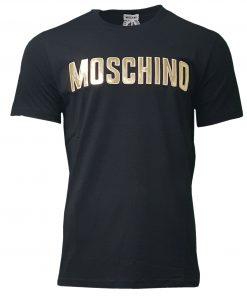 Moschino Crew SS T-Shirt Gold Logo in Black