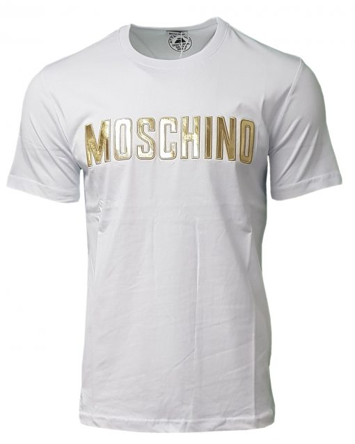 Moschino Crew SS T-Shirt Gold Logo in White