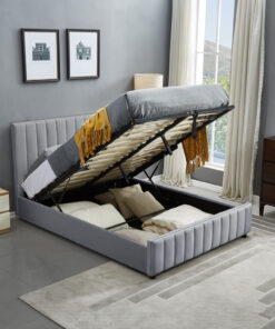 luxury life Sofia grey ottoman bed plush velvet